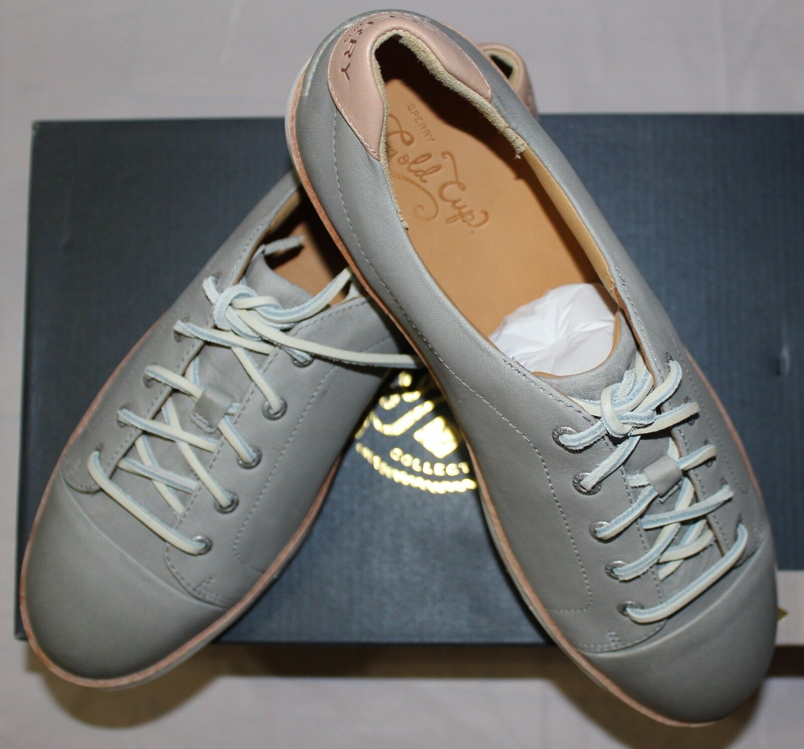SPERRY GOLD CUP CRUZ LIGHT GREY LEATHER SNEAKER SZ 10M