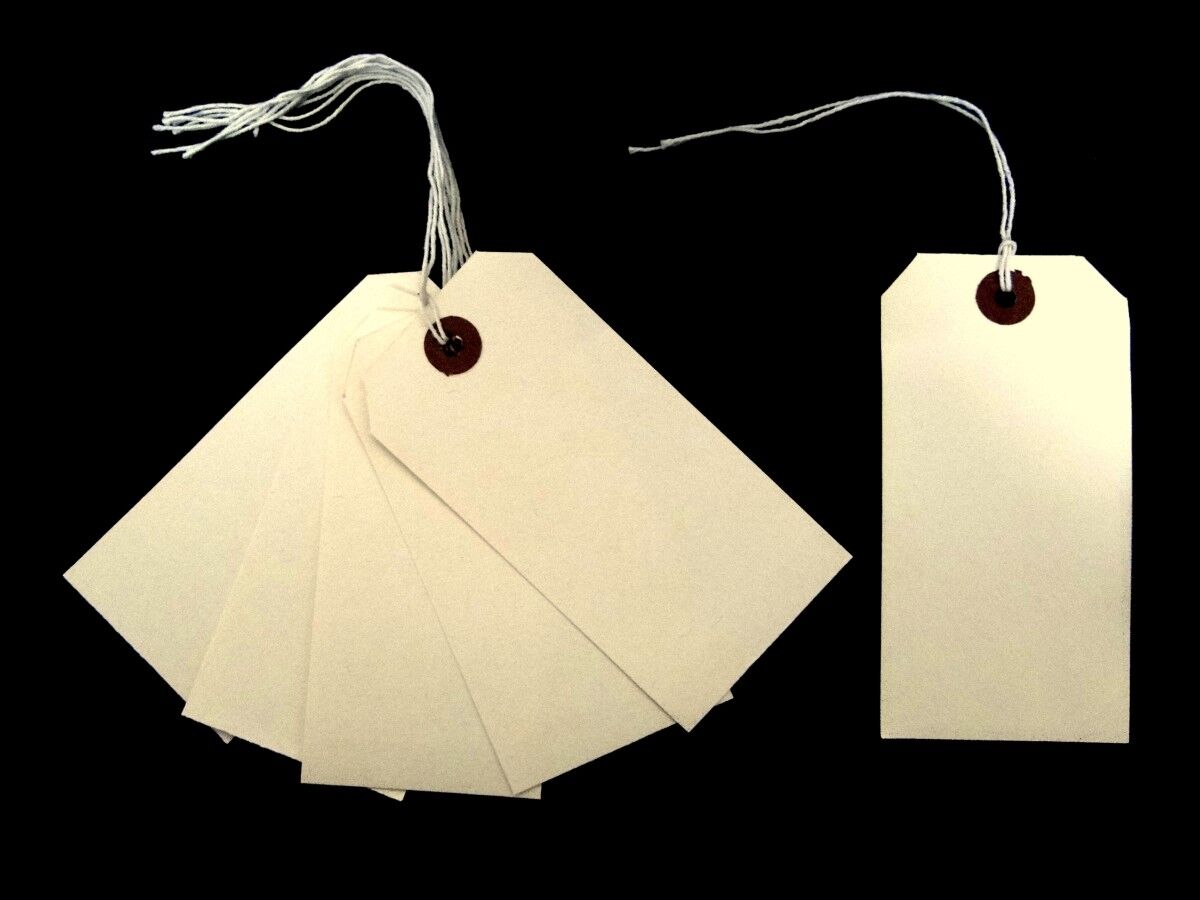 1000 Strung Reinforced Tags 96mm x 48mm Luggage Labels String Buff Manilla Cream