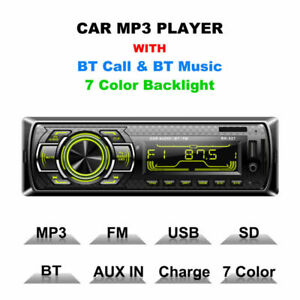 Autoradio-Lettore-MP3-USB-FM-Stereo-Radio-SD-Bluetooth-AUX-IN-Charge-7-Color