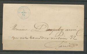 1864-Lettre-Paris-CAD-15D-Cachet-taxe-MONTROUGE-PARIS-15c-Bleu-Superbe-X3169