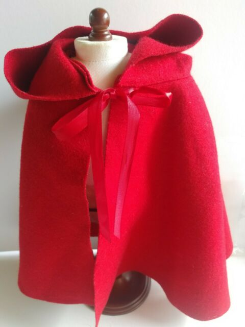 American Girl Doll Felicity Winter Red CLOAK~Cape~Elizabeth~Retired~Historical