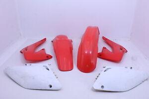 2004-honda-crf450r-OEM-RED-WHITE-PLASTICS-BODY-KIT-FENDERS-FAIRINGS-COWLS-R9