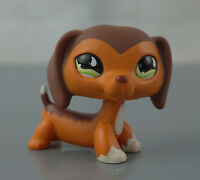 Littlest Pet Shop LPS #675 Brown Savanah Dachshund Dog Puppy Green Eyes