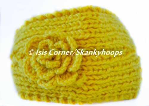 6 DIFFERENT COLORS FASHION KNIT FLOWERED CROCHET HEADBAND W// BUTTONS