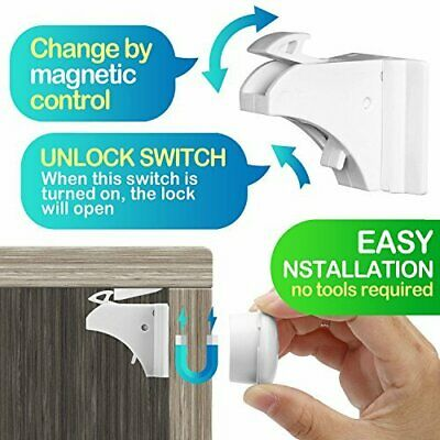 Magnetic Cabinet Locks Corner Child Proofing Security Safety Baby Cabinets Set