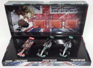 MINICHAMPS 1 43 LEWIS HAMILTON SET 3 CAR MERCEDES F1 W.CHAMPION 2008-2014-2015