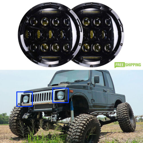 For Suzuki Samurai SJ410 7'' Round LED Headlights Hi/Lo Beam Projector Headlight