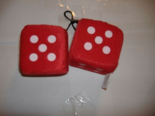 """1 PLUSH FUZZY DICE RED  3/"""" INCHES HANG ON  YOUR CAR MIRROR"""