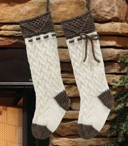 "Mary Maxim Knit Christmas Cable Stockings Pattern /& Yarn Kit 15/"" Cuff to Heal"