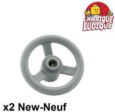 Lego technic - 2x volant steering wheel 3 stud gris/light bluish gray 2819 NEUF