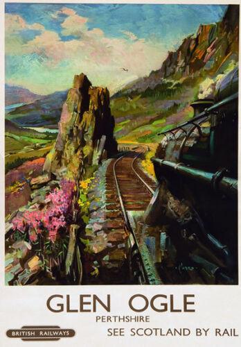 Vintage Railway Advertising  rail travel poster  A4 RE PRINT Glen Ogle