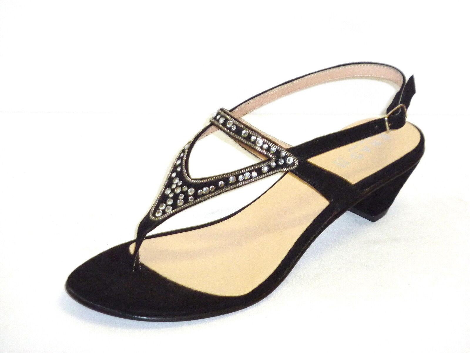 687 SANDALI INFRADITO femmes NUOVI ARRIVI ESTATE chaussures TACCO BASSO PELLE noir 35