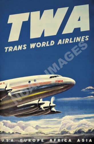 US Europe Africa Asia TWA vintage airlines air travel poster repro 20x30