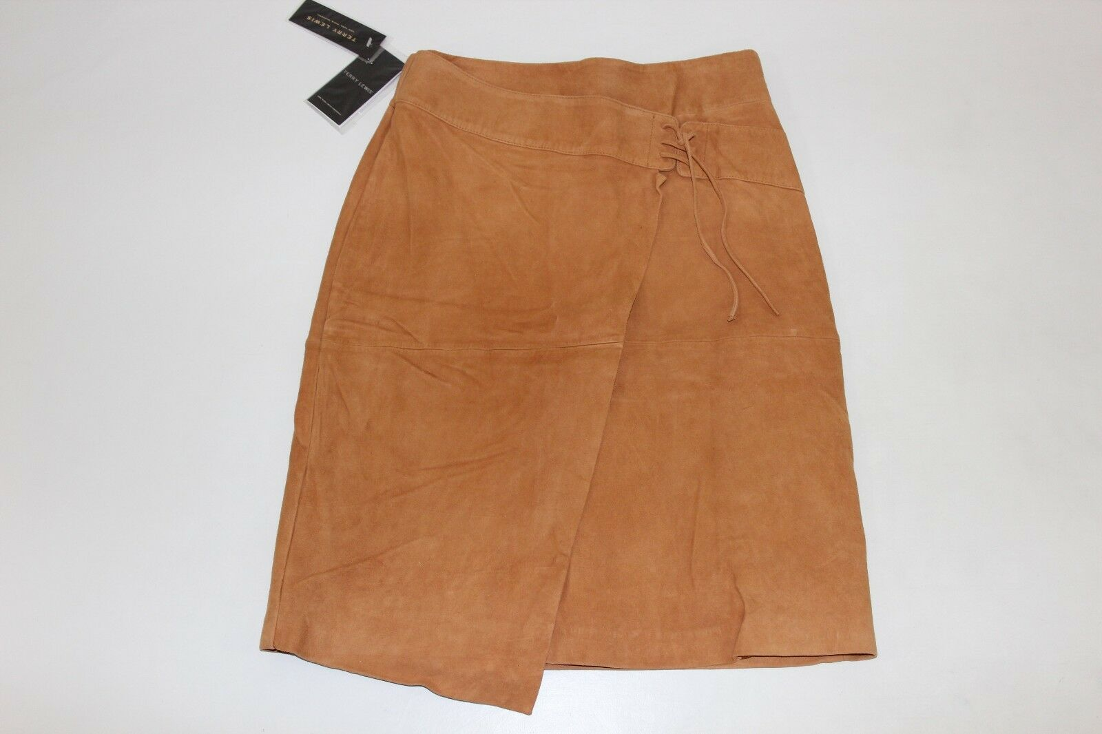 FREE SHIPPING Terry Lewis Womens Sz 12 Brown Soft Leather Suede Skirt Lined NEW