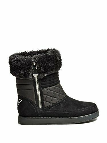 NEW GUESS ALONA BLACK,QUILTED FAUX (8M) SUEDE+FABRIC+FUR,SIDE ZIP,TRIMMED Stiefel (8M) FAUX 0c4740