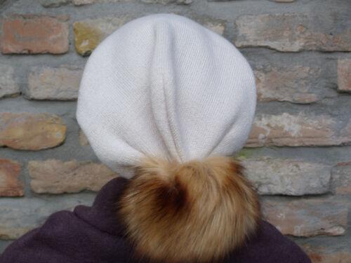 TREND Long Slouch Beanie Mütze Strickmütze Bommelmütze Riesen-Kunstfellbommel