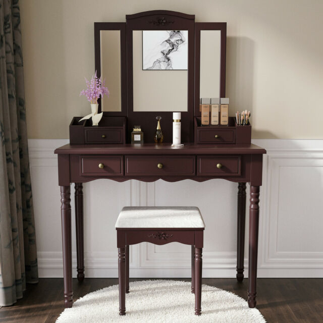 White Vanity Table Wooden Antique
