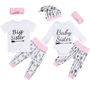 8f6fe4c2 Big Sister Little Sister T shirts Set Matching Sisters Romper Outfit ...