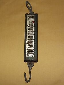 VINTAGE OLD BARN MADE USA METAL RANSON 50 LB CAPACITY SPRING SCALE