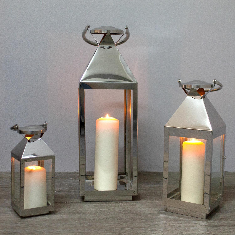 3tlg Laternen-Set Windlicht Laterne Kerzenhalter H55,5 40 25cm Edelstahl Glas