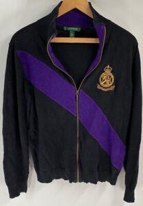 LRL-Ralph-Lauren-Womens-Sweater-Jacket-Purple-Cotton-Long-Sleeve-Gold-Crown-L
