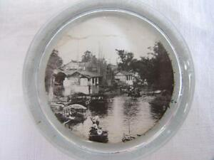 VINTAGE-1980-039-s-SMALL-GLASS-PAPERWEIGHT-RIVER-CANAL-SCENE