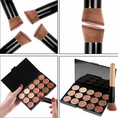 15 Colors Contour Face Cream Makeup Concealer Palette Sponge Powder w Brush