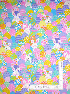Easter-Bunny-Eggs-Silver-Glitter-Cotton-Fabric-12942AS-Fab-Traditions-Yard