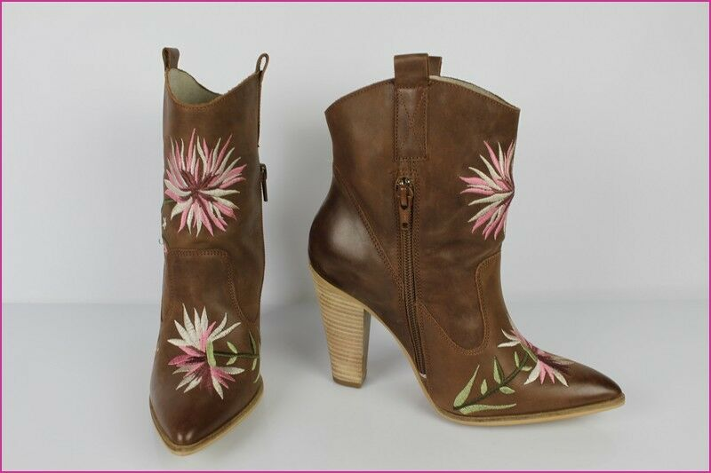 Bottines SAN MARINA Cuir Marron Brodé Fleurs Rose T 36 TTBE