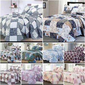 3 Piece Quilted Bedspread Printed Patchwork Comforter Single Double Super King