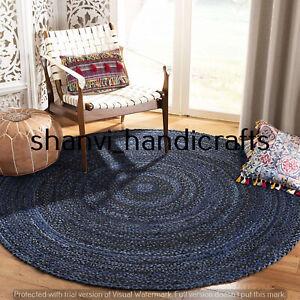 Round Braided Cotton Circle Rug Floor