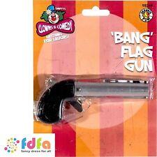 FUNNY BANG GUN WHICH FIRES FLAG - mens circus clown fancy dress accessory prop