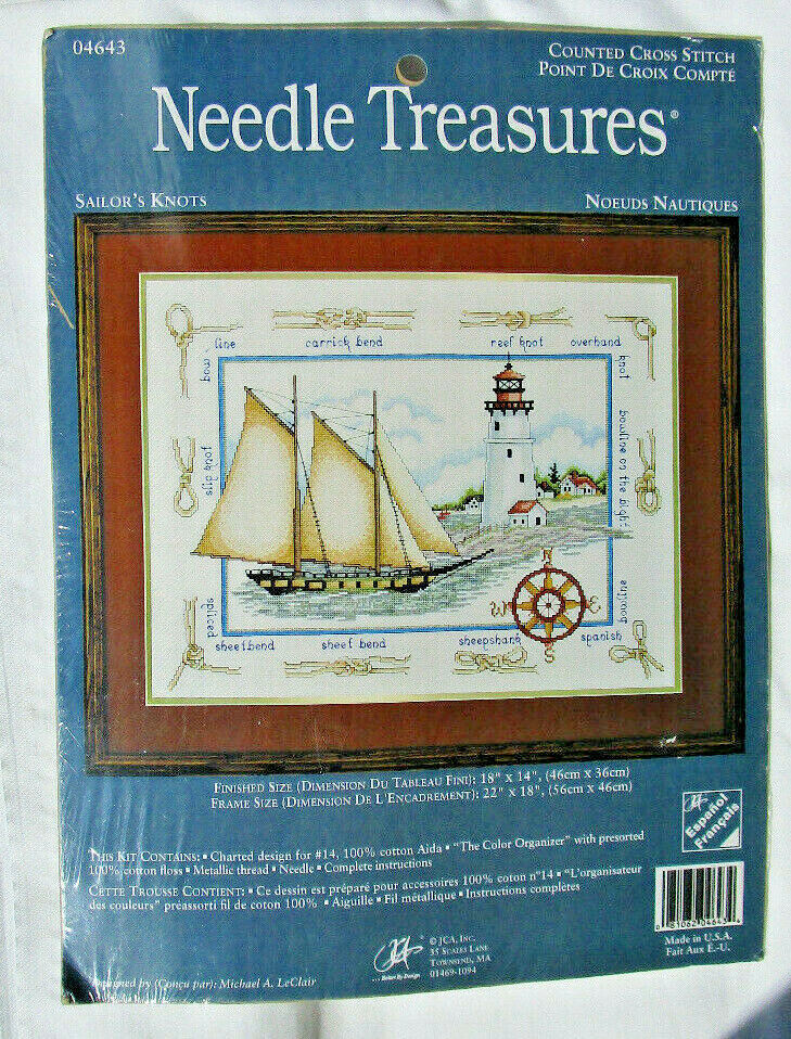 "Needle Treasures ""Sailor's Knots"" Counted Cross Stitch Kit Nautical"
