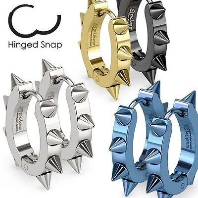 316L Surgical Stainless Steel IP U Shaped Hoop Blue Earrings with Spikes pair