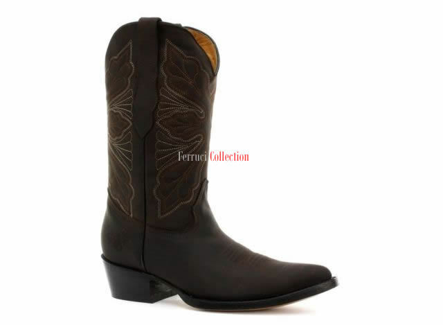 Grinders Womens Dallas Brown Real Leather Boot Cowboy Western Mid Calf Toe Boots