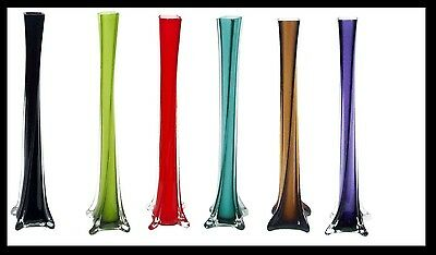 6 x GLASS TWISTED LILY VASES - 40CM & 50CM TALL - MANY COLOURS AVAILABLE!
