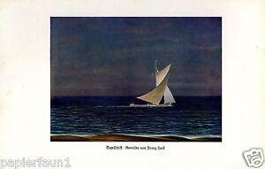 Segelschiff Kunstdruck von 1930 Franz Lenk Langenbernsdorf segeln Meer Strand
