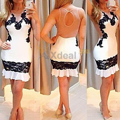 New Sexy Women Lace Backless Bodycon Cocktail Party Evening Short Mini Dress Hot