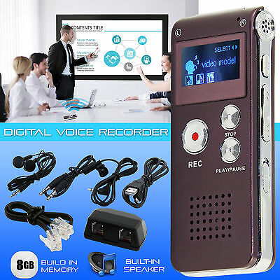 Digital Voice Recorder 8GB Rechargeable Steel Dictaphone MP3 Player Sound Record