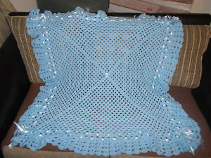 BABY BLUE CROCHET BABY BLANKET 40 INCH  REBORN NEW BABY PHOTO PROP  SHAWL - <span itemprop='availableAtOrFrom'>Huddersfield, West Yorkshire, United Kingdom</span> - BABY BLUE CROCHET BABY BLANKET 40 INCH  REBORN NEW BABY PHOTO PROP  SHAWL - Huddersfield, West Yorkshire, United Kingdom
