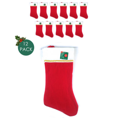 Pack of 12 NEW 12 pk Red /& White Christmas Stockings 18 in X 7 in