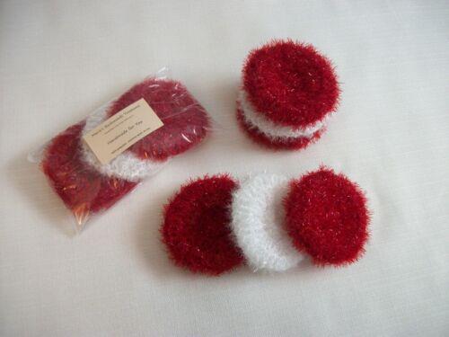 Red /& White Dish Scrubbies Set of 3 Pot Scrubbers Handmade Valentine/'s Day Set