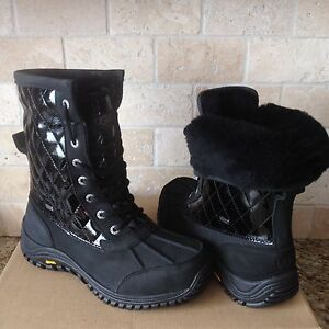 8f8a36cca11 Details about UGG Adirondack II Quilted Black Waterproof leather Snow Boots  Size US 7 Womens
