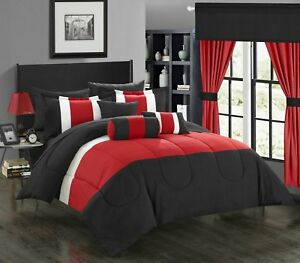 Buy Bed In A Bag Clearance King Size Comforter Red Black 20 Piece