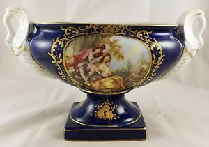 Limoges-China-Cobalt-Blue-Gold-Trim-Accents-Romance-Courtship-Swan-Handle-Vase