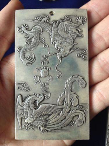Chinese Ssangyong tibet Silver Bullion thanka amulet 吉祥如意