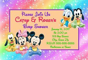 Mickey Mouse Friends Baby Shower Invitations 12 Pk Personalized Ebay