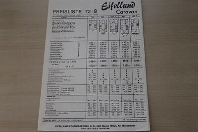 Prospekt 1972 Heller Glanz Modellprogramm Preisliste Eifelland Wohnwagen 178168