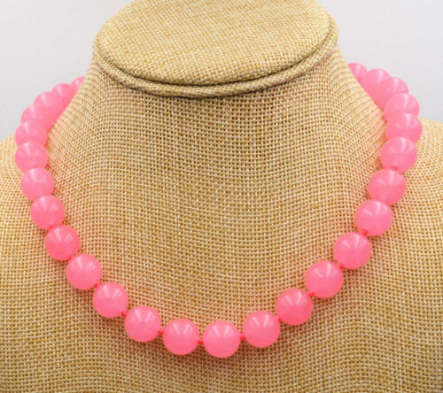 "10mm Pink Chalcedony Round Bead Gemstones Necklace 18/"""