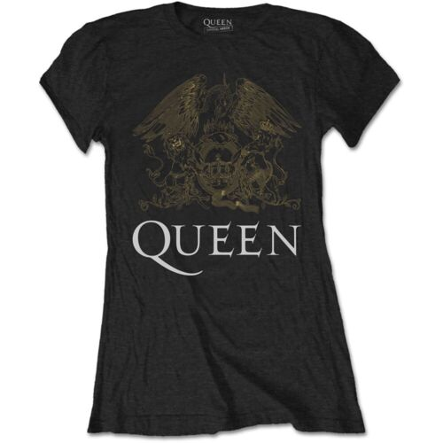 100/% Official Licensed Merch Ladies' SKINNY T-SHIRT Top QUEEN Gold Crest